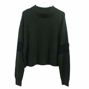 John + Jenn green stripe sweater large NWT